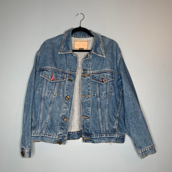 Vintage Denim Jacket with Faux Gemstone Buttons AS