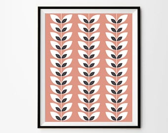 Leaf Pattern Art, 5 x 7 in, 8 x 10 in, 11 x 14 in, Pink and Grey, Pattern Printable, Pattern Art, Pink Wall Art, Printable Art, Wall Decor
