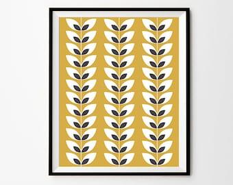 Leaf Pattern Wall Art, 5 x 7 in, 8 x 10 in, 11 x 14 in, Mustard and Grey, Pattern Printable, Mustard Wall Art, Printable Wall Decor