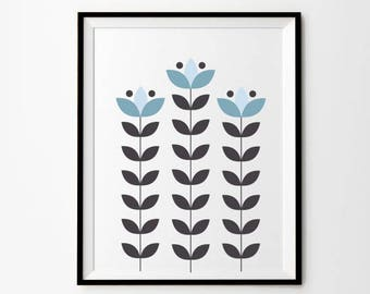 Scandinavian Flower Art, 5 x 7 in, 8 x 10 in,  11 x 14 in, Light Blue, Gray, Blue Decor, Printable Digital Download, Minimalist Wall Art,