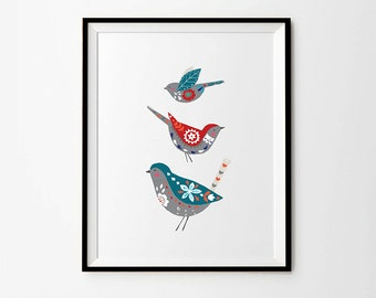 Birds print, 5 x 7 in, 8 x 10 in, 11 x 14 in, A4, A3, Folk art, Scandinavian folk art, Scandinavian prints, Wall art poster, Home Decor