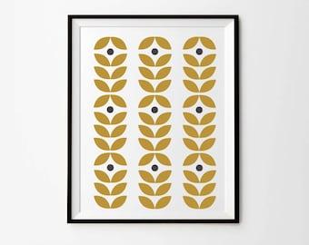 Scandinavian Print, 5 x 7 in, 8 x 10 in,  11 x 14 in, Mustard Wall Art, Leaves pattern, Scandinavian Poster, Printable Art