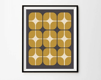 Scandinavian Pattern Print,  5 x 7 in, 8 x 10 in,  11 x 14 in, Grey and Mustard Wall Art, Scandinavian Modern, Printable Artwork