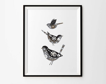 Birds print, 5 x 7 in, 8 x 10 in, 11 x 14 in, A4, A3, Folk art, Scandinavian folk art, Scandinavian prints, Wall prints, Wall printables