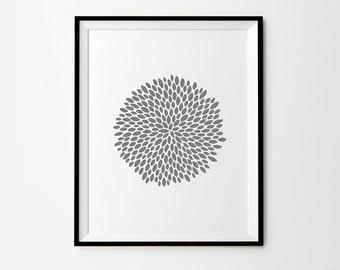 Floral Print, Flower Wall Art,  Grey Print, Printable Art, Digital Print, Wall Art, Printable Women Gift, Digital Download, Instant Download