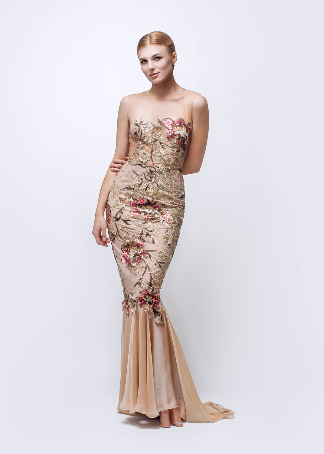 Blush evening dress couture dress formal gown   Etsy