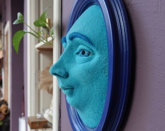 Oval frame 3d wall art, Realistic human face artwork, Needle felted soft sculpture, Contemporary blue home decor, Modern wool wall hanging