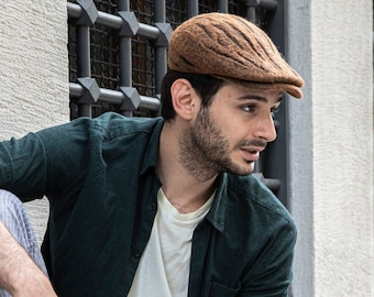 Brown felt flat cap, Male nature inspired forest style accessories, Mens fashion handmade wool headgear, Newsboy driving hat