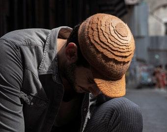 Brown felt handmade baseball cap, Naturel wool designer unique trucker hat, Street fashion urban headgear, Everyday hat, Casual unisex hat