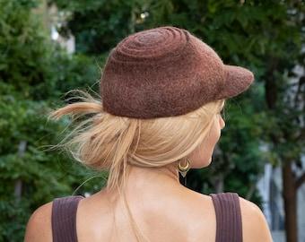Brown handmade felt cap, Woodland tree bark style nature hat, Fall and winter trapper hat, Gift for women men, Wool sport baseball cap