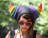 Rainbow faun, fantasy cosplay hat,rave festival outfit, enchanted gift, fantasy festival costumes, rainbow gift ideas, womens stage wear