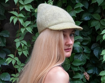 Green handmade felt hat, Fantasy style everyday hat, Casual fairy wool hat, Forest elf baseball cap, Unique and original gift for men girl