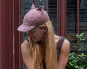 Pink felt baseball cat cap, Kitten ears designer hat, Street fashion, pussyhat, pussycat, Cute animal hat, Kawaii clothing, Gift for her