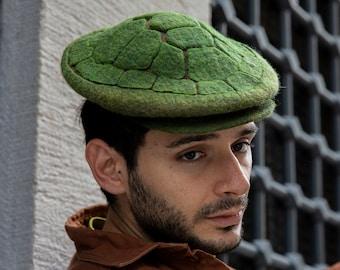 Handmade turtle shell hat , Green felt nature inspired hat, Wearable art, Flat newsboy cap, unique gift for women and men, feltthink
