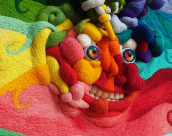 Colorful 3d wall art, Abstract rainbow face artwork, Contemporary home wall decor