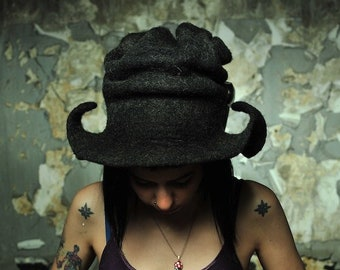 Black madness top hat, Burning man clothes, Rave steampunk outfit, Festival fashion, Gothic Halloween Fantasy Victorian Hat