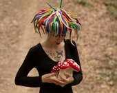 Space mushroom hat Unusual hat Rainbow color costume Rainbow dread Festival Hippie Clothing Rave Hairy Fringed hat Colorful birthday gift