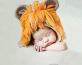 Felted lion hat,lion hat headdress,baby's first hat, newborn portrait hat,baby photoshoot hat,lion king baby hat,hippie baby boy hats