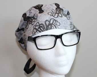 Gray Octopus Surgical Scrub Hat