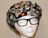 Women 39 s Flower and Sugar Skulls Bouffant Surgical Scrub Hat