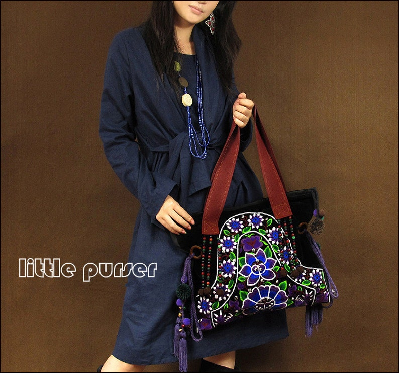 Hand Made bag Embroidery Tote BagCasual bagsFashion bagTravel packageShop tote bagWomen bagEmbroidered Tote Bag single shoulder bag