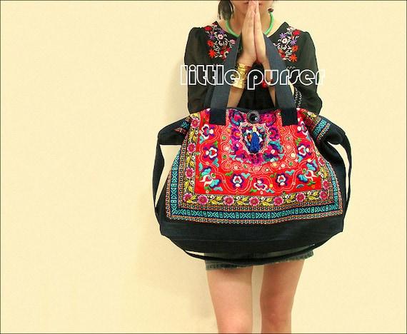 Hand Made bag  Embroidery Tote Bag Obliquely across the  f377cda339