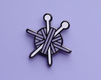 Purple Knitting Pin   Cute Pin   Knitting Needles Art   Gift For Knitters   Stocking Stuffer   Art Gift   Crafting Gift   Arts & Crafts Gift