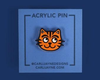 Orange Tabby Cat Acrylic Pin, Kitten Acrylic Pin, Orange cat pin, tabby cat Acrylic pin, stocking stuffer, gifts for cat people