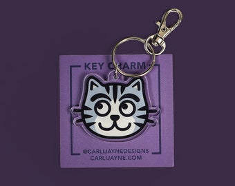 Cat Charm, cat acrylic charm, cat keychain, kitty keychain, cat key ring, stocking stuffer, gifts for her, gifts for cat people