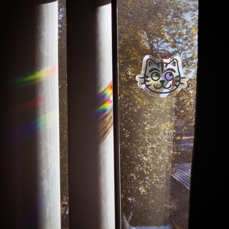 Rainbow Suncatcher Cat Window Cling suncatcher Sticker image 0