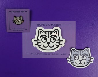 Gifts for cat lovers, cat enamel pin, cat magnet, gifts for her, stocking stuffer, cat rainbowmaker, cat gift, gifts for cat people