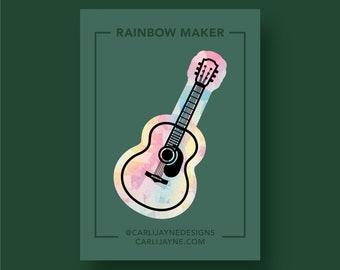 Rainbow maker, Rainbow Suncatcher, Acoustic Guitar Window Cling, suncatcher Sticker, rainbow maker decal, guitar suncatcher