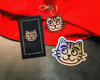 Gifts for cat lovers, cat enamel pin, cat sticker, gifts for her, stocking stuffer, cat keychain, cat gift, gifts for cat people
