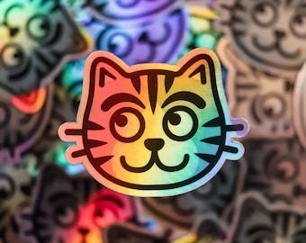 Holographic cat sticker, rainbow cat sticker, holo cat sticker, holographic kitten sticker, gifts for cat people