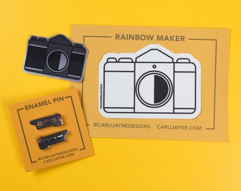 Photography Film Collar Pin   stocking stuffers   Fine Art Photography Gift   camera rainbow maker   Gift For Photographer   Photo Film Art