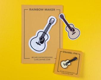 Gifts for musician, acoustic guitar enamel pin, guitar sticker, gifts for him, stocking stuffer, guitar suncatcher