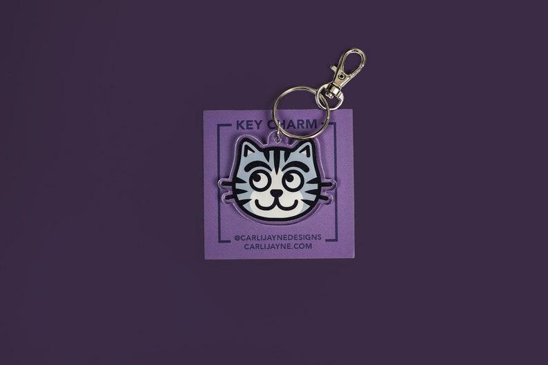 Cat Charm cat acrylic charm cat keychain kitty keychain image 0