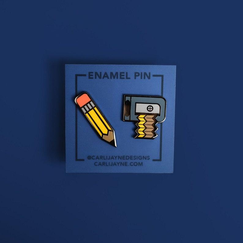 Pencil Pin Sharpener Pin Enamel Pin set Teacher enamel pin image 0