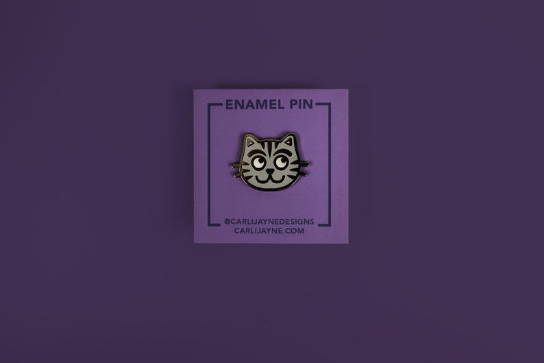 Grey Tabby Cat Enamel Pin  Cute Pin  Gift For Cat Lover  image 0