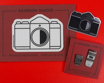 Photography Pin   stocking stuffers   Photography Gift   camera rainbow maker   Gift For Photographer   Photography Art   Camera lenses