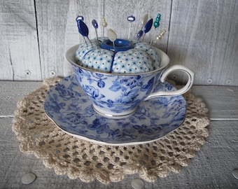 5683886b17a Grace's Teaware Blue and White Rose Tea Cup & Saucer Pin Cushion