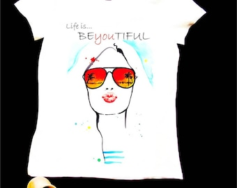 Lyfe is BeYouTiful in faintaisie style hand-painted T-shirt