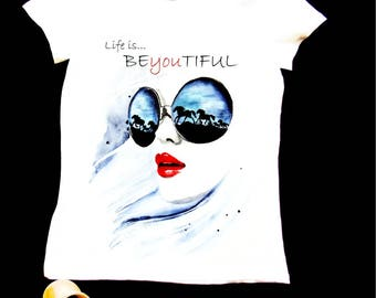 Lyfe style faintaisie BeYouTiful horse is hand-painted T-shirt