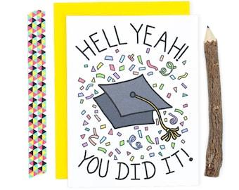 Funny Graduate Card, Funny Congratulations Card,You Did It, Humor Grad Card, Graduation Card, Funny Grad Card, College Graduation, Grad Gift