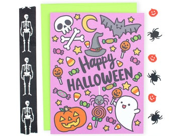 Happy Halloween Note Card, Halloween Pattern, Cute Halloween Card, Halloween Card for Kids, Pumpkin, Ghost, Bats, Candy Corn, Trick or Treat