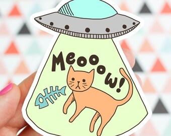 Funny Cat Vinyl Sticker, Cat Sticker, Cute UFO Cat Sticker, Kitty Sticker, Abducted Cat UFO Alien Sticker