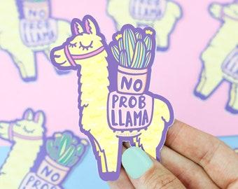 Llama Sticker, Funny Vinyl Stickers, No Prob Llama, Alpaca Decal, Animal Puns, Cute Planner Sticker, Gift, Funny Animal Pun, Gift for Her
