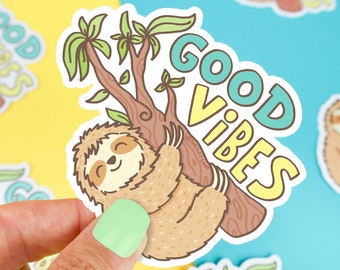 Good Vibes Sloth Sticker, Sloth Gift, Cute Water Bottle Sticker, Vinyl Decal, Animal,  Laptop, Cute Sloth, Mother's Day Gift, High Quality