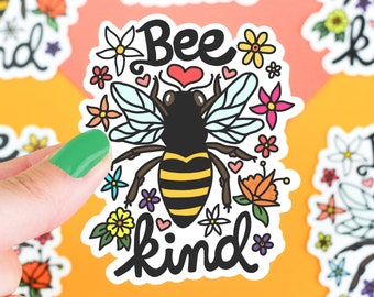 Bee Sticker, Stickers, Bee Kind, Funny Sticker, Vinyl Sticker, Car Decal, Laptop Sticker, Save The Bees, Be Kind, Flower, Floral