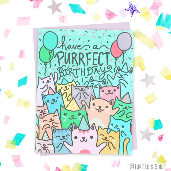 Cat Birthday Card Best Friend Card Cat Lover Gift Purrfect Etsy
